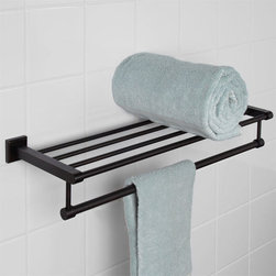 Haskell Double Towel Rack - Maximum functionality, the Haskell Collection Double Towel Rack has a rack for storing bathroom accessories and a rail to hang towels. Look for other solid brass pieces from the Haskell Collection to have a sophisticated and coordinated look