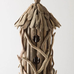 Driftwood Birdhouse - Hanging from a tree, this driftwood birdhouse is a petite delight for both the feathered and the bird-watcher alike.