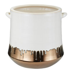 Lazy Susan - Lazy Susan LZS-857064 Metallic Alloy Drip Crock - Your crock runneth over! This unusual handcrafted, earthenware crock is finished by hand in a white and gold glaze to bring beauty and depth with a dripping milk effect. Add it to your country kitchen for a bit of old-fashioned charm.