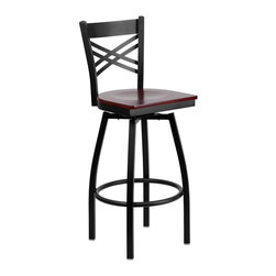 Flash Furniture - Flash Furniture Restaurant Seating Metal Restaurant Barstools - This stylish swivel bar stool will compliment any Home, Restaurant, Lounge or Bar. The 360 degree swivel seat allows you to swing around effortlessly. The wood seat is easy to clean for quick customer turnovers in restaurants. The heavy duty frame makes this stool perfect for commercial or home usage. This attractive stool will add to your casual or elegant setting. [XU-6F8B-XSWVL-MAHW-GG]