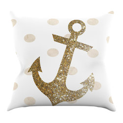 "Kess InHouse - Nika Martinez ""Glitter Anchor"" Gold Sparkles Throw Pillow (26"" x 26"") - Rest among the art you love. Transform your hang out room into a hip gallery, that's also comfortable. With this pillow you can create an environment that reflects your unique style. It's amazing what a throw pillow can do to complete a room. (Kess InHouse is not responsible for pillow fighting that may occur as the result of creative stimulation)."