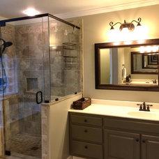 Traditional Bathroom Painted bathroom vanity and shower tile