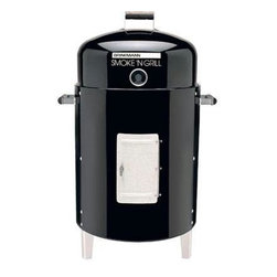 Brinkmann - Brinkmann Charcoal Smoker - Smoke N' Grill Charcoal Smoker and Grill, rolled edges for greater strength, holds up to 50 pounds of food, dome lid fits on the inside of the body, converts on seconds to a BBQ grill.