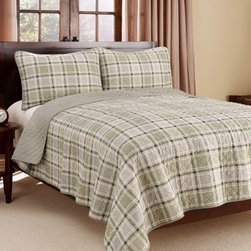 Eddie Bauer Westmont Plaid 3-Piece Cotton Reversible Quilt Set - Serene and peaceful in plaid, the Eddie Bauer Westmont Plaid 3-Piece Cotton Reversible Quilt Set makes a soothing statement in the bedroom. Constructed of 100% cotton, with cotton fill, this quilt is fully reversible and comes with two matching shams (one with twin size) to complete the look. Shades of green, cream, and stone make this quilt set perfect for anyone looking for a little lightness in their bedroom. Conveniently machine-washable, all you need to do is choose your size and you're all set!Bedding Dimensions:Twin: 88 x 68 in.Full/Queen: 90 x 90 in.King: 96 x 104 in.About Eddie BauerSince Eddie Bauer himself strung the first racket in Eddie Bauer's Tennis Shop in 1920, the company's work ethic has always been based on innovative design and exceptional customer service. Now a household name, Eddie Bauer is more than sports goods - it's premium-quality gear, accessories, and clothing designed to complement the lives of those who love outdoor pursuits. Eddie Bauer's home collection proves the company's rugged, athletic spirit can be just as rewarding indoors, too.