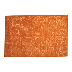 1800-Get-A-Rug - Modern Nepali Rust Red Wool and Silk Hand Knotted Rug Sh13228 - About Modern & Contemporary