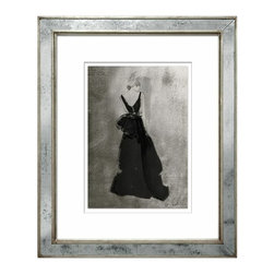 "Poppy Waddilove Fashion- Print 1 - These graceful and stylish fashion illustrations are by the London-based artist Poppy Waddilove. They are limited edition fine art giclee reproductions individually numbered and signed by the artist. Finish of frame is silver leaf mirror. Measures 21""x25""."