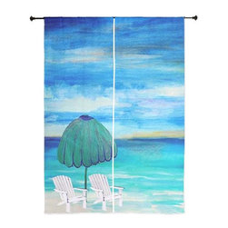 xmarc - Beach Art Sheer Curtains, Sea Breeze Beach - The windows have it with these sheer, decorative curtains. Romantic and flowing, these elegant chiffon window treatments finish a room with the perfect statement