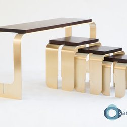 """Chiavi Console Table - A sophisticated collection of pieces composed of components that can """"key together"""" and be pulled apart to create new forms, the Chiavi (Italian for """"keys"""") Tables are the perfect marriage of contemporary elegance and distilled forms."""