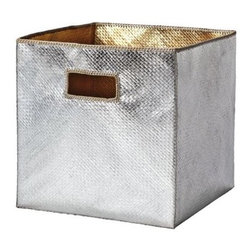 Serena & Lily - Pandan Bin  Metallic - Tailored storage with a tropical twist, these textural bins are made of sturdy, handwoven palm fronds. Detailed with Metallic Silver outside, Metallic Gold inside and a stitched Natural trim.