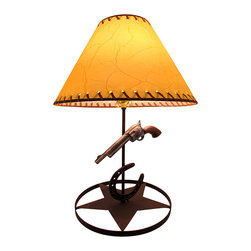 Zeckos - Western Themed Pistol and Horseshoe Metal lamp with Leather Look Shade - With a brown western star base, horseshoe and 6-shooter pistol accents, this lamp is all you need to complete the look of your western themed room. Made from metal, it stands 21 inches high and 11.75 inches in diameter (53 x 30 cm), and includes a 9.5 inch high, 11.75 inch diameter (24 x 30 cm) leather look shade to light up the room from an end table or display stand, set the entryway or your side of the bed aglow. It's a great accent for the office, too It uses 1 standard size bulb (not included), and easily turns on or off via the twist-switch located just under the bulb. The long 74 inch cord allows for many location options in your home or office, and it makes a wonderful gift for any fans of the Wild West sure to be admired