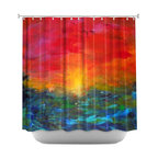 DiaNoche Designs - Shower Curtain Artistic - Rainbow Sunset - DiaNoche Designs works with artists from around the world to bring unique, artistic products to decorate all aspects of your home.  Our designer Shower Curtains will be the talk of every guest to visit your bathroom!  Our Shower Curtains have Sewn reinforced holes for curtain rings, Shower Curtain Rings Not Included.  Dye Sublimation printing adheres the ink to the material for long life and durability. Machine Wash upon arrival for maximum softness on cold and dry low.  Printed in USA.