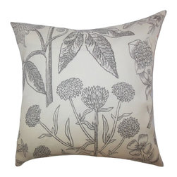 """The Pillow Collection - Neola Floral Pillow Gray 20"""" x 20"""" - This throw pillow is a lovely addition to your interiors. Printed with a floral pattern in shades of gray and white, this 20"""" pillow offers comfort and texture. This toss pillow is ideal for indoor use, especially in your living room or bedroom. Made of high-quality materials, which ensures durability. Mix and match with solids and other patterns."""