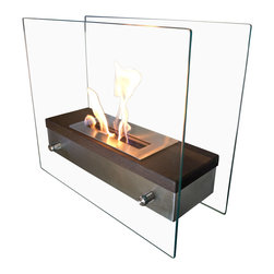 Nu-Flame - Nu-Flame Ardore Foreste - Italian for fiery passion the elegant Foreste Ardore fireplace lives up to its name. A large capacity stainless steel burner is capped with a realistic dark walnut wood finish cover drawing attention to the dancing flames. The beautiful walnut finish gives a traditional look and feel to an otherwise contemporary design. The burner is suspended between two thick tempered glass panels which reflect and enhance the fire.