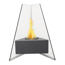 Anywhere Fireplace - Manhattan Bio Ethanol Fireplace - The unique and stylish Manhattan model by Anywhere Fireplace will add elegance and sophistication to your space, indoors or outdoors. Although small in size, don't be mistaken, it will add large impact to any space. Its flames will dance between to glass on 2 angled sides while it warms up your room and atmosphere. Place it on the floor, a table top, on a stand or wherever you can admire its beautiful real flames. The body is made with an outdoor grade powder coating so you can also use it outdoors as well as indoors and the elements will not affect its glossy grey finish. You will not want to leave the burner outdoors however, because you don't want water to get into it.
