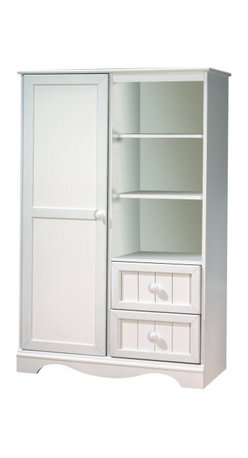 South Shore - South Shore Handover Kids Door Chest in White Finish - South Shore - Baby Armoires - 3580038 - The South Shore Handover Door Chest offers two drawers and three open storage compartments created by two adjustable shelves. Behind the door are three adjustable and two fixed shelves, making this a practical storage solution even as your child grows. With country design elements the Handover Door Chest is sure to fit comfortably in your home. The Handover Collection by South Shore Furniture was designed specifically for your baby bedroom. Each piece has rounded edges that are safe for your children. The decorative toe-kick at the bottom and the wooden plank effect give this baby collection a unique look. Available in Espresso and White finishes the South Shore Furniture Handover Collection is sure to offer a lasting appeal you will enjoy for many years.