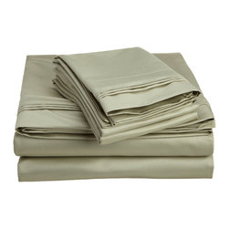 1500 Thread Count Egyptian Cotton King Sage Solid Sheet Set - 1500 Thread Count oversized King Sage Solid Sheet Set 100% Egyptian Cotton