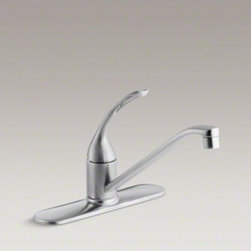 "KOHLER - KOHLER Coralais(R) three-hole kitchen sink faucet with 10"" spout and loop handle - Add style and functionality to everyday tasks with this durable Coralais kitchen sink faucet. The swing spout makes it easy to wash pots and pans, while an elegant loop handle and a high-quality ceramic valve provide precise water volume control."