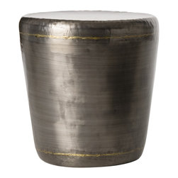 Arteriors - Malcom End Table - Round iron occasional table of darkened silver with brass accents finish.