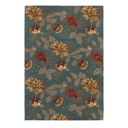 Couristan - Country & Floral Botanique 9'x12' Rectangle Teal Area Rug - The Botanique area rug Collection offers an affordable assortment of Country & Floral stylings. Botanique features a blend of natural Teal color. Handmade of New Zealand Wool the Botanique Collection is an intriguing compliment to any decor.