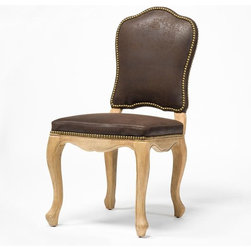 Four Hands - Rosalie Dining Chair, Nubuck - Make meals more special by doing your traditional dining room in elegant seating with a romantic touch. This chair, handmade of oak, features soft curves, detailed accents and upholstery of comfortable, durable bicast leather.