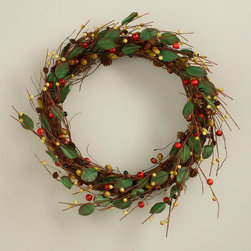 Acorns, Berries and Leaves Wreath - Here's a fall wreath that doesn't use the traditional fall colors.