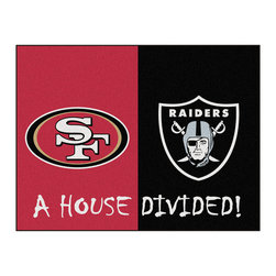 Fanmats - NFL 49ers-Raiders House Divided Accent Rug - Features: