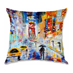DiaNoche Designs - Pillow Woven Poplin from DiaNoche Designs by Karen Tarlton A New York New Year - Toss this decorative pillow on any bed, sofa or chair, and add personality to your chic and stylish decor. Lay your head against your new art and relax! Made of woven Poly-Poplin.  Includes a cushy supportive pillow insert, zipped inside. Dye Sublimation printing adheres the ink to the material for long life and durability. Double Sided Print, Machine Washable, Product may vary slightly from image.