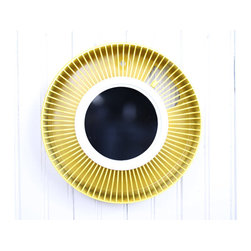 """Vintage Yellow Round Mirror by Vintage 5 - I love the """"spokes"""" that go all the way around this stunning mirror. And that color!"""