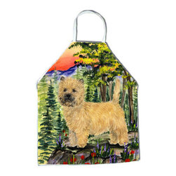 Caroline's Treasures - Cairn Terrier Apron SS8229APRON - Apron, Bib Style, 27 in H x 31 in W; 100 percent  Ultra Spun Poly, White, braided nylon tie straps, sewn cloth neckband. These bib style aprons are not just for cooking - they are also great for cleaning, gardening, art projects, and other activities, too!