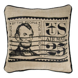 "Natural Black Vintage Air Mail Stamp 18"" x 18"" Pillow  Set of 2 - *18"" x 18"" Pillow with Wooden Button Closure"
