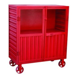 """YOSEMITE HOME DECOR - Corrugated Metal Display Cabinet, Red - This decorative display cabinet is made of solid corrugated metal. Featured in a soft antique red resting on four cast iron wheels. A perfect fit for that Urban Loft themed space, or just anywhere that warrants a """"Splash"""" of color or just something a little different. One metal shelf rests behind 2 steel doors w/glass panel inserts, w/a fully functional top & metal bottom latching catch. Assembled and made in India.  Item Dimension in 34inches Width X 16inches Depth X 40inches Height"""