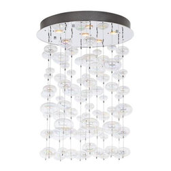 "Possini Euro Floating Bubble 6-Light Round Ceiling Fixture | Lamps Plus - These cascading bubbles create one show-stopping chandelier. Use it over a staircase, the dining room table, or to wow your guests as soon as they walk into your entryway.Chrome finish.Clear glass.Includes six 35 watt halogen bulbs.25 1/2"" wide. x 6"" high.24"" round canopy.Comes with electronic transformer.17.64 pounds hanging weight."