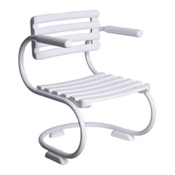 White Patio Chair - This chair is fun and funky. The curvy lines of the legs give way to angular lines in the seat and back. I love the mid-century modern feel of this piece. It would definitely be a conversation piece.