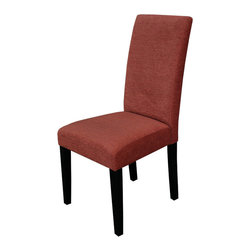 Monsoon - Aprilia Burnt Orange Upholstered Dining Chairs (Set of 2) - Update your dining room table with these modern upholstered dining chairs. The burnt orange color of the upholstery complements the black legs,making the room a little more inviting,and the armless style takes up less space around the table.