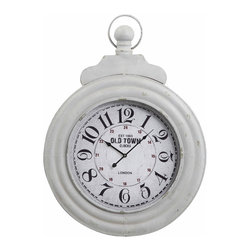 Cooper Classics - Cooper Classics Dillon Clock - Vintage ambiance and Old World charm make a sweet, shabby chic touch for this fresh and simple wall clock. It's shape and design is reminiscent of a simple pocket watch, but the timepiece features a large wall-appropriate size. Bold, old-fashioned numerals are arranged in a circle on the clock face, heightened by military-time numbers and a touch of burgundy to the off-white home accessory. The fresh, crisp cream finish of the home decor accent allows it to compliment and blend in with various color palettes for a bright and cheerful note in a room!Made from real woodDistressed cream finishGlass-covered clock faceOld World round wall clock