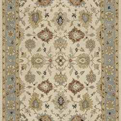 "Loloi Rugs - Loloi Rugs Laurent Collection - Beige / Sky, 2'-0"" x 3'-0"" - Hand-knotted of 100% wool from India, the Laurent Collection features a series of soumak rugs that add a touch of casual elegance to traditional and transitional rooms alike. Available in a series of hand-dyed earthy colors, Laurent combines a well textured surface with updated traditional designs that reflect today's interior trends."