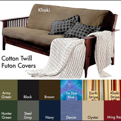None - Brushed Cotton Twill Futon Cover - This soft cotton futon cover will protect your futon for general wear and tear as well as give it a stylish,modern makeover! In a variety of different colors,this machine washable futon cover features a quick-zip closure for easy fitting/removal.