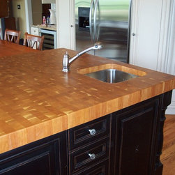 WR Woodworking - Cherry butcher block counter top - American Cherry end grain counter top with under mount sink. Wrwoodworking.com