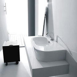 "WS Bath Collections - Flo 29.5"" x 16.5"" Wall/Counter Ceramic Sink - Flo by WS Bath Collections Bathroom Sink 29.5 x 16.5, Wall Hung or Counter Top Installation in Ceramic White, With One Faucet Hole in the Center, Made in Italy"