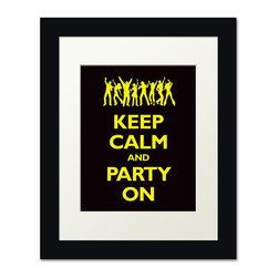 Keep Calm Collection - Keep Calm and Party On, framed print (black and yellow) - This item is an Art Print which means it is a higher-quality art reproduction than a typical poster. Art prints are usually printed on thicker paper, resulting in a high quality finish. This print is produced on a 270 gsm fine art paper stock.