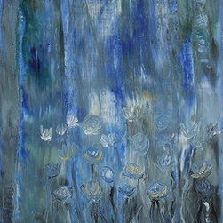 Water Lilies 2 (Original) by Marino Chanlatte - I love to observe water lilies in the water and in the canvas, these are my water lilies.