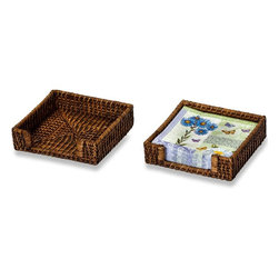 "Picnic Plus - Clio Rattan Napkin Holder, Rattan - Picnic Plus Clio Napkin Holder For Home Entertaining, Rattan. Color/Design: Rattan; Woven eco friendly Natural rattan holder; Sized to accomodate 6 1/2 square napkins; Perfect for indoor or outdoor entertaining; Makes a thoughtful and stunning hostess gift, or for a new home. Dimensions: 7 1/4""W x 7 1/4d x 2""H"