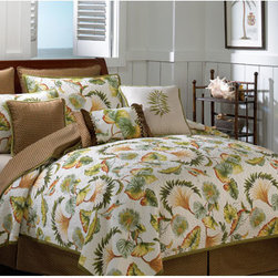 Scent-Sation, Inc. - Montego Bay Twin Quilt - - Tropical foliage on an ivory colored ground that reverses to a rattan print, creating a sumptuous retreat in your bedroom.   - Measurements; 68W x 86H.   - Reversible.   - Machine wash.   - Please note that size may be different than pictured.   - Quilt only, does not include sheets or decorative pillows, shams or pillowcases. Scent-Sation, Inc. - 460TFanFo