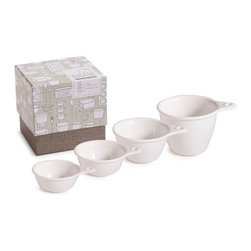 Rosanna - White Bungalow Measuring Cups, Set Of 4 By Rosanna - The forms of White Bungalow are borrowed from beloved forms of the past-early Americana tin pantryware and glass refrigerator containers.