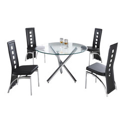 "American Eagle Furniture - 501DT & B104CH Glass Table With Black Vinyl Chairs 5 Piece Dining Set - The 501DT & B104CH dining set is a great addition for any dining room that needs a touch modern design. The dining table has a round clear glass top with a 45"" diameter. The base of the table features polished stainless steel tubing is a X design that adds a unique look to the table. The chairs come upholstered in a stunning black vinyl material with high density foam placed within the cushion for added comfort. The chairs have a unique open square design on the back that adds to the overall look. The frame of the chairs are crafted from polished stainless steel with the backrests extending down to the legs. The dining set consist of a dining table and four chairs only."