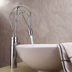 Bathroom Faucets - Chrome Finish Contemporary Single Handle LED Bathroom Sink Faucet(Tall)--FaucetSuperDeal.com