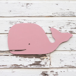"""Preppy Pink Wood Wall Whale by Small Town Myrtle Brown - Large Preppy Pink Wood Wall Whale 28"""" wide x 13"""" high"""