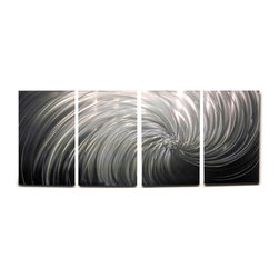 Miles Shay - Metal Wall Art Decor Abstract Contemporary Modern Sculpture Hanging- Riptide - This piece is all silver. Any visible color is a reflection of objects in the room.