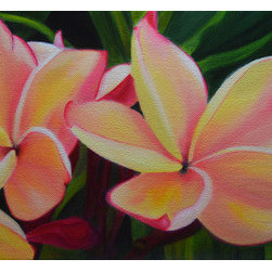 Paradise Plumeria (Original) by Jerry Sullivan - Plumerias are one of my favorite flowers to paint and living in Paradise, I have the opportunity to view them daily. This particular plumeria drew me to it because of the beautiful colors and shapes. There is a coordinating piece, search for Dancing Dewdrops