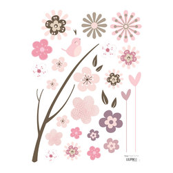 """Lilipinso - """"Cherry Flowers"""" Wall Stickers - Create a Japanese, relaxing atmosphere by adding this beautiful sticker set in your child's room! Let her daydream of Japan by combining it with the ''Kokeshi'' canvas, our 3D-butterflies, and the ''cherry flower'' wall border. The sticker is ideal for bringing a personal and original touch to your child's playroom and bedroom. Simple to apply and remove, it leaves no marks or sticky residue on your walls, making it a decoration you can easily change when your child outgrow it. The ''cherry flower'' wall sticker is pictured with other stickers that Hooplaroom does not carry at the moment."""